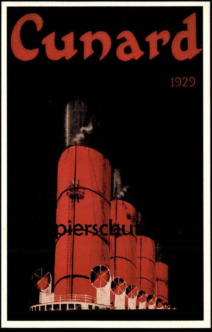 ÄLTERE KARTE CUNARD LINE 1929 VON 1990 REPRO VON POSTER Collection of the 150th Anniversary photo cpa