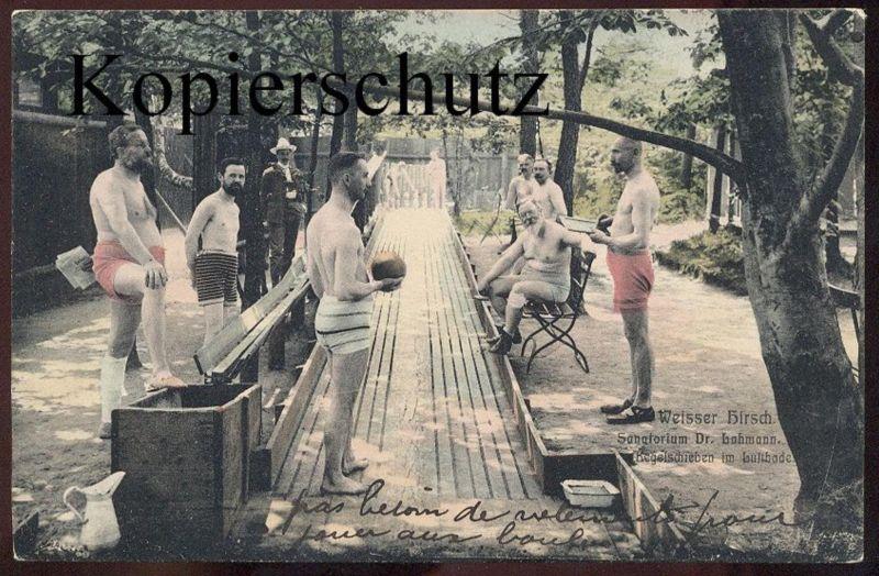 ALTE POSTKARTE DRESDEN SANATORIUM KEGELN WEISSER HIRSCH SEMI NUDE MEN ninepins quille postcard Ansichtskarte AK cpa