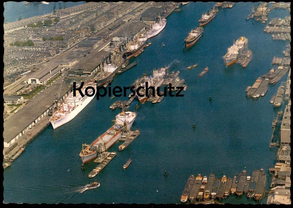 ÄLTERE POSTKARTE ROTTERDAM HAVENGEZICHT HAVEN Luftbild Hafen harbour port Schiff cargo ship Ansichtskarte cpa postcard
