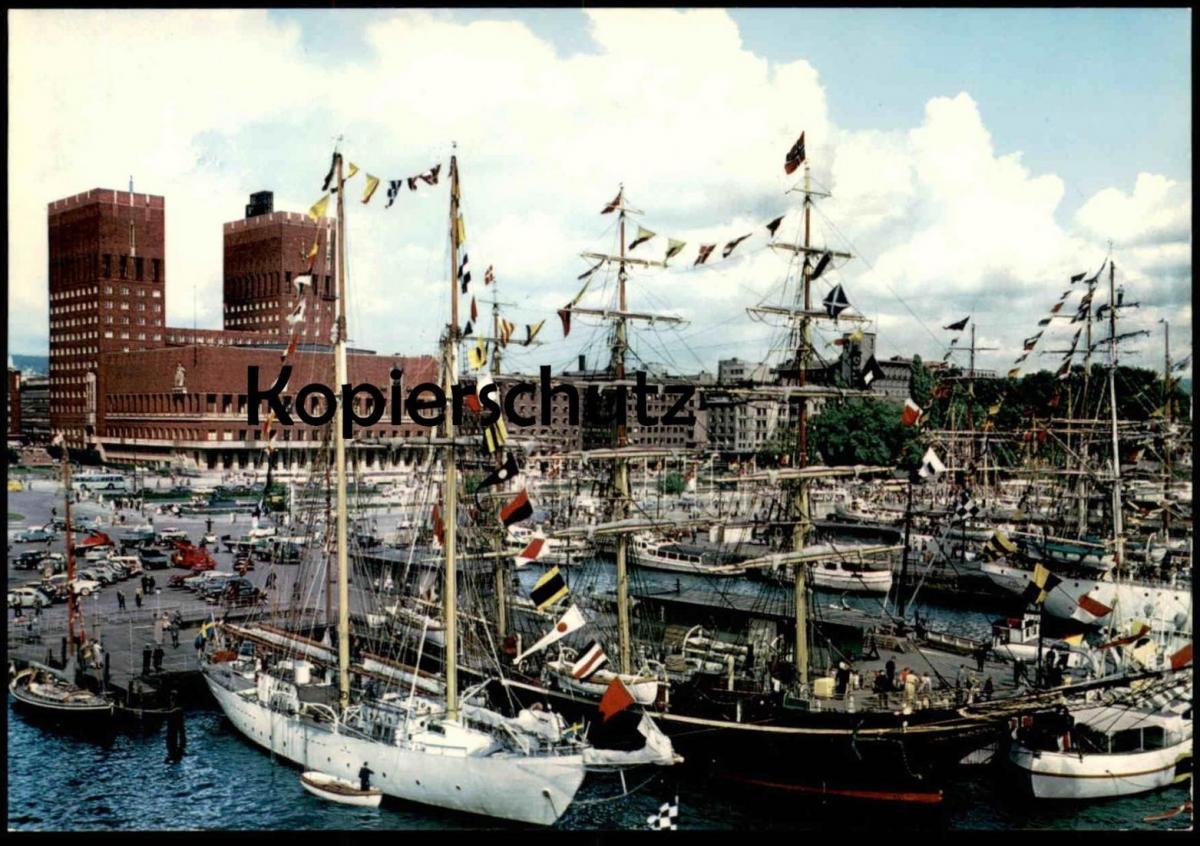 ÄLTERE POSTKARTE OSLO HAVNA HAVEN Hafen harbour port Segelschiff cargo ship Ansichtskarte postcard AK