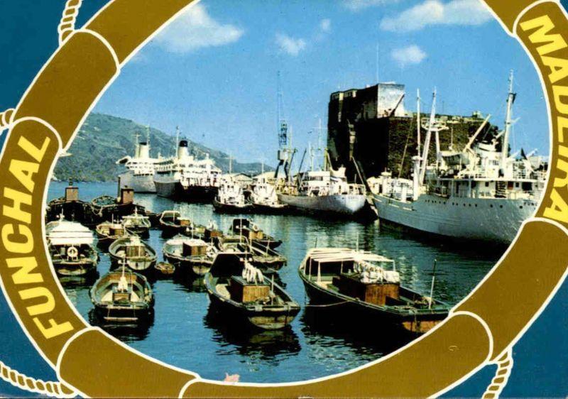ÄLTERE POSTKARTE FUNCHAL MADEIRA PORTO HAVEN Hafen harbour port Segelschiff cargo ship Ansichtskarte postcard AK
