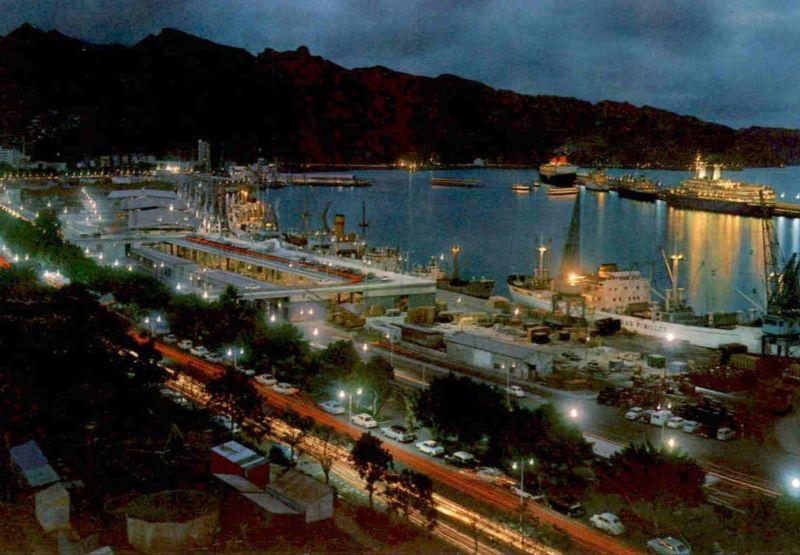 ÄLTERE POSTKARTE SANTA CRUZ TENERIFE PUERTO PORTO HAVEN Teneriffa Hafen harbour port Segelschiff cargo ship postcard