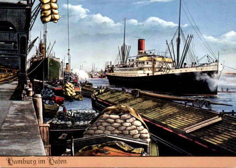 ÄLTERE POSTKARTE ALT-HAMBURG IM HAFEN LÖSCHUNG LADUNG Haven harbour port Segelschiff cargo ship postcard Ansichtskarte