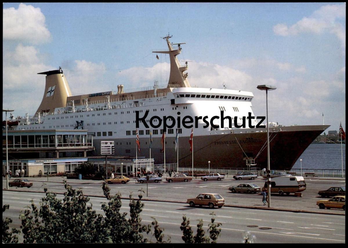 ÄLTERE POSTKARTE KIEL OSLO-KAI PRINSESSE RAGNHILD VW GOLF I Caravan Haven harbour port ship Ansichtskarte AK postcard