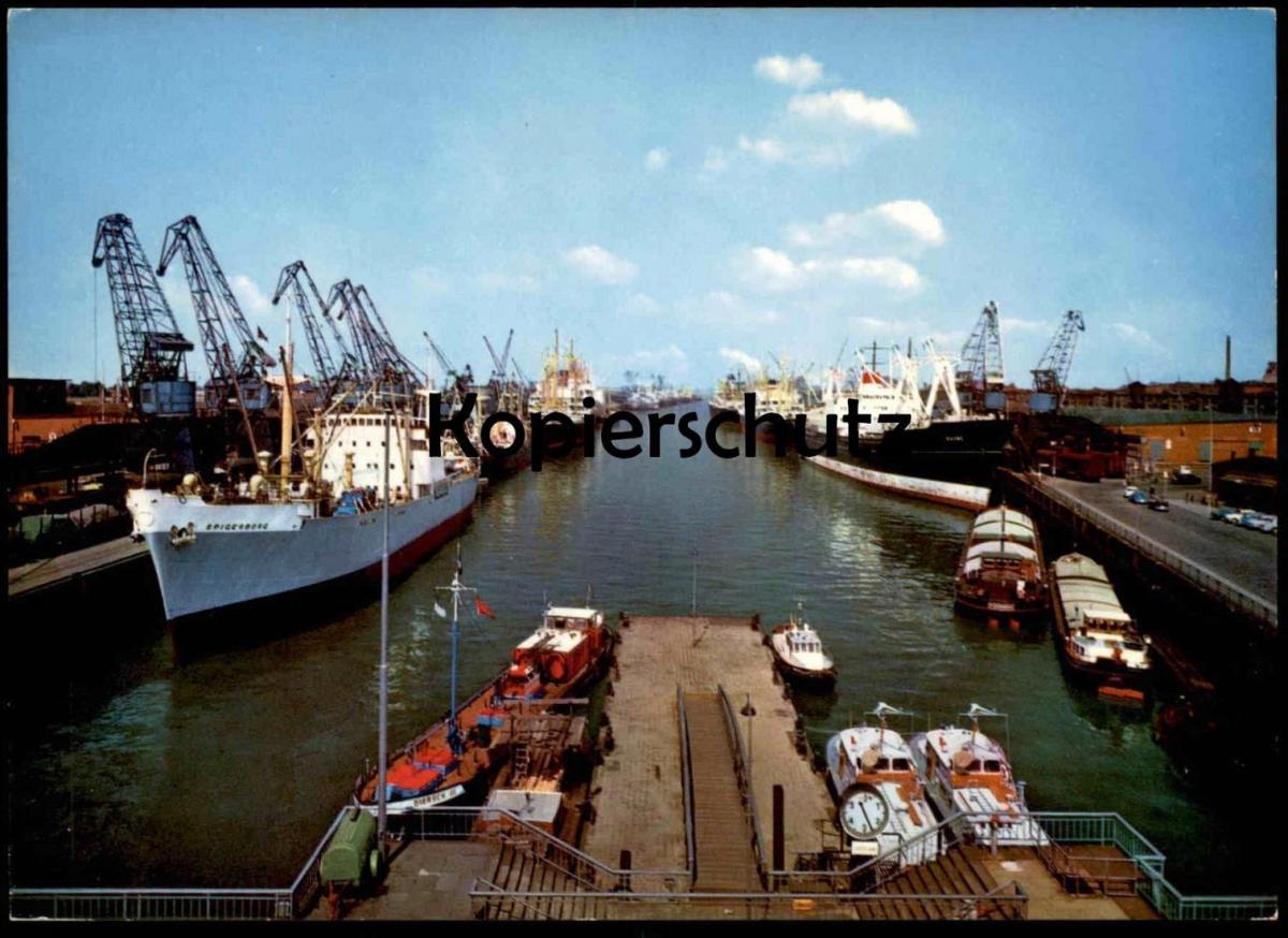 ÄLTERE POSTKARTE BREMEN ÜBERSEEHAFEN FRACHSCHIFF Spigerborg Diersch cargo ship Ansichtskarte AK postcard cpa