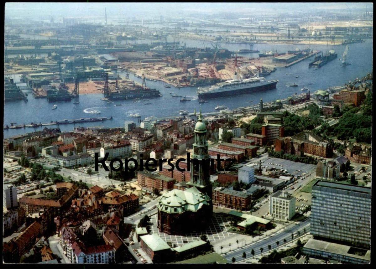 ÄLTERE POSTKARTE HAMBURG QUEEN ELIZABETH 2 MICHAELISKIRECHE HAFEN harbour Fähre Dampfer Schiff ship Ansichtskarte