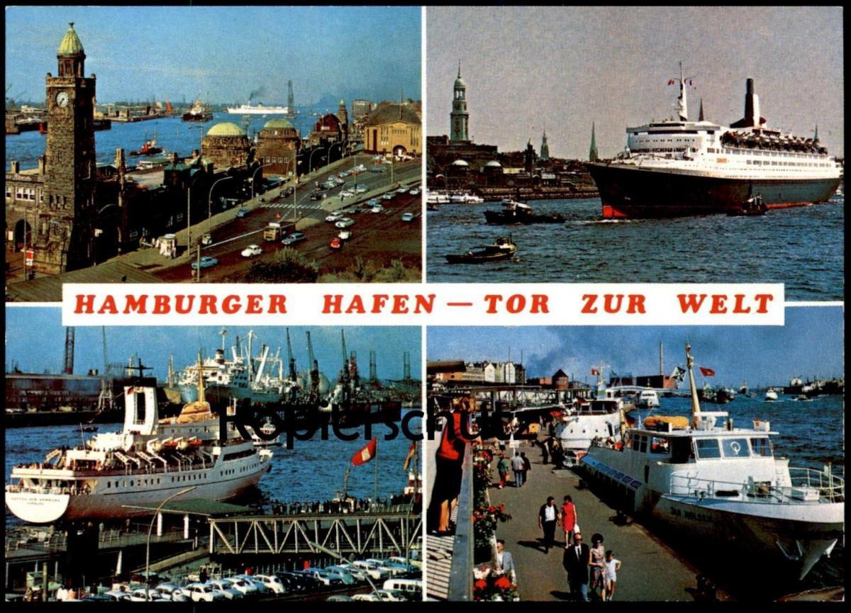 ÄLTERE POSTKARTE HAMBURG HAMBURGER HAFEN TOR ZUR WELT Jugendherberge harbour port puerto Fähre Dampfer Schiff ship