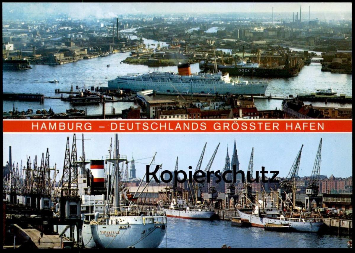 ÄLTERE POSTKARTE HAMBURG DEUTSCHLANDS GRÖSSTER HAFEN harbour port puerto Fähre Dampfer Schiff ship Ansichtskarte