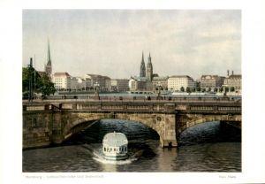 ÄLTERES FOTO HAMBURG HANS HARTZ LOMBARDSBRÜCKE UND INNENSTADT 19,5 cm x 13,7 cm Bild photo