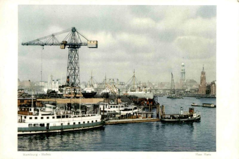 ÄLTERES FOTO HAMBURG HANS HARTZ HAFEN Kran crane grue port harbour puerto 19,5 cm x 13,7 cm Bild photo