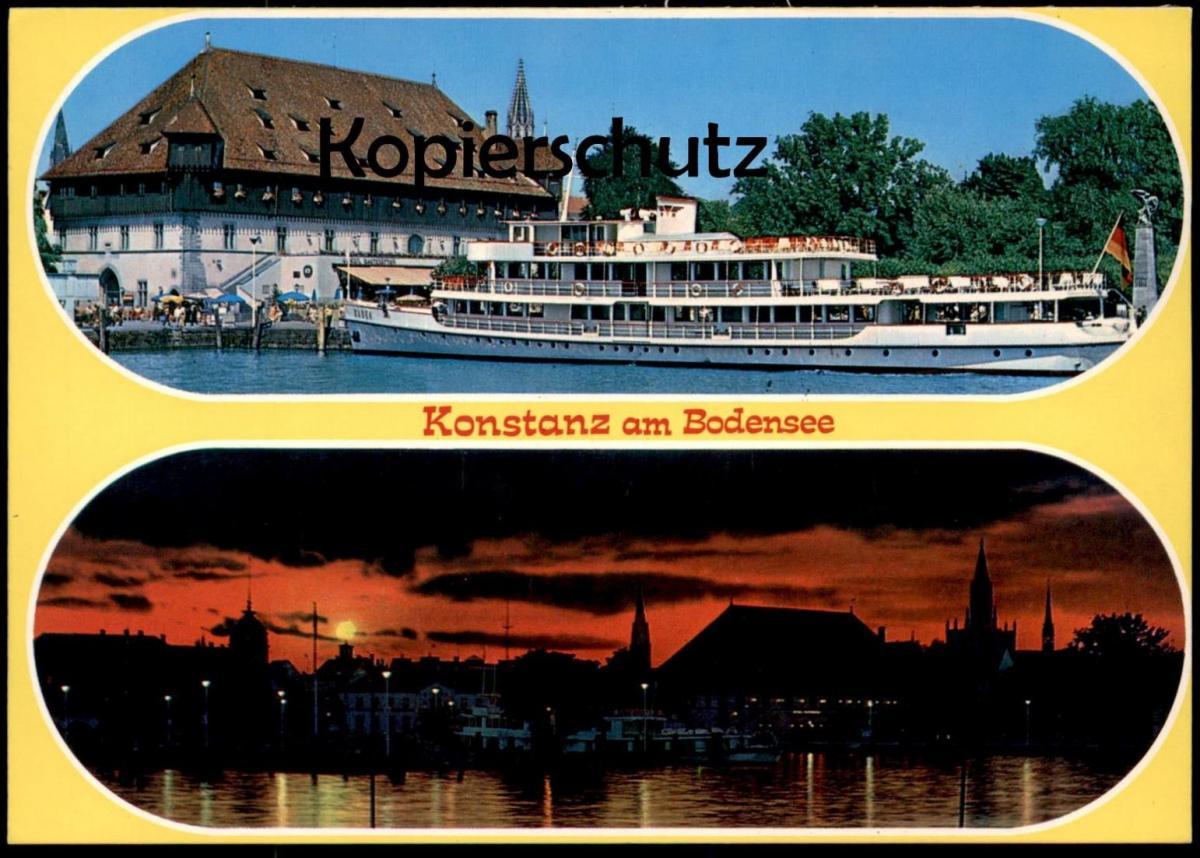 ÄLTERE POSTKARTE KONSTANZ AM BODENSEE ABENDSTIMMUNG SCHIFF BADEN Ansichtskarte AK postcard cpa