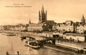 ALTE POSTKARTE CÖLN FRANKENWERFT STAPELHAUS UND MARTINSKIRCHE Köln Schlepper Dampfer Schiff ship Ansichtskarte postcard