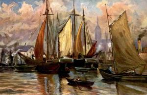 ALTE MARITIME KÜNSTLER POSTKARTE SEGELSCHIFFE IM HAFEN Schiffe sailing ship bateau port harbour Ansichtskarte postcard