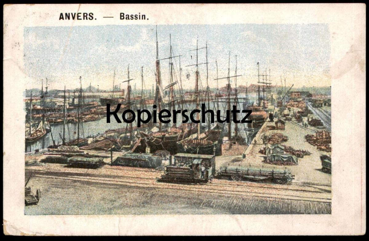 ALTE POSTKARTE ANVERS BASSIN LOCOMOTIVE À VAPEUR STEAM TRAIN DAMPFLOK EISENBAHN Hafen railroad port harbour havre cpa AK