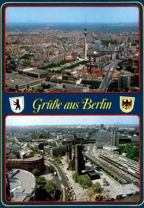 POSTKARTE GRÜSSE AUS BERLIN BLICK AUF DEN ALEXANDERPLATZ BLICK AUF DEN BREITSCHEIDPLATZ Ansichtskarte AK cpa postcard