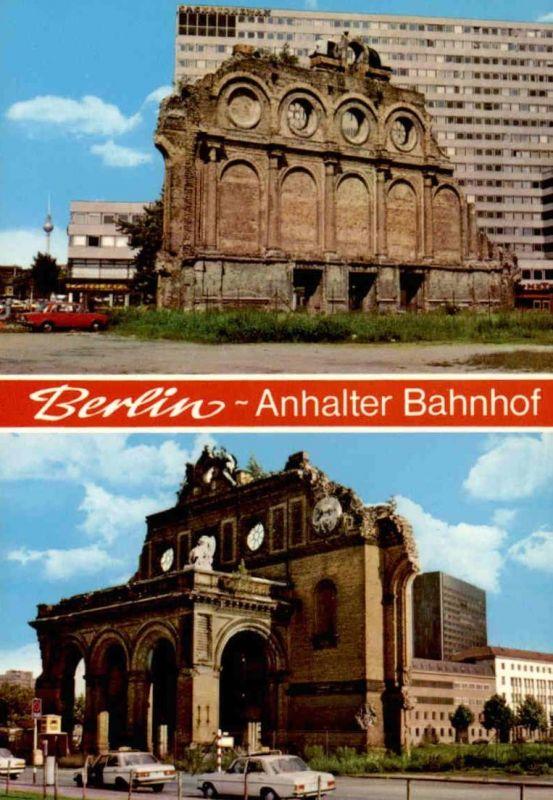 ÄLTERE POSTKARTE BERLIN KREUZBERG ANHALTER BAHNHOF Mercedes Daimler Benz Taxi Taxen cab Ansichtskarte AK cpa postcard