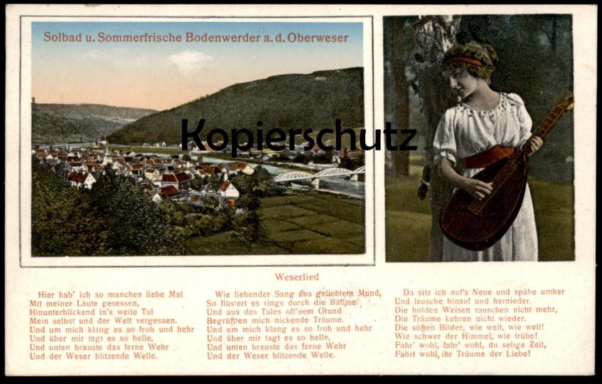ALTE POSTKARTE SOMMERFRISCHE BODENWERDER OBERWESER WESERLIED FRAU MIT LAUTE woman Weser Ansichtskarte postcard cpa