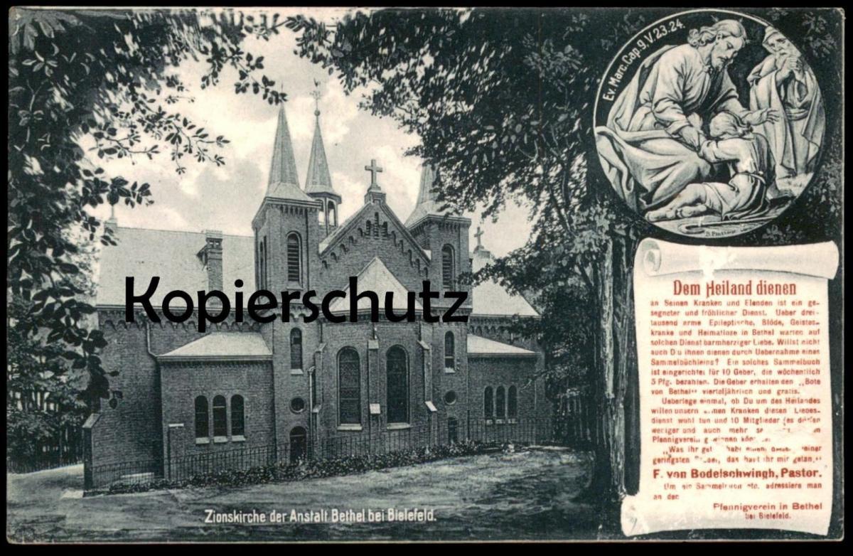 ALTE POSTKARTE BETHEL BEI BIELEFELD ZIONSKIRCHE DER ANSTALT DEM HEILAND DIENEN PFENNIGVEREIN Bodelschwingh Ansichtskarte