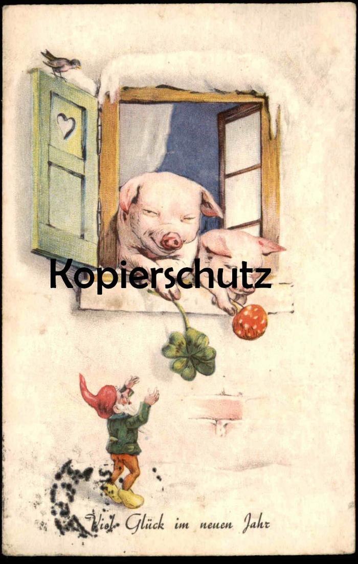 ALTE POSTKARTE ZWERG & SCHWEIN VIEL GLÜCK IM NEUEN JAHR dwarf midget nain pig cochon Fliegenpilz Ansichtskarte postcard