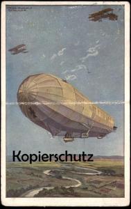 ALTE POSTKARTE LUFTKREUZER HANSA HANS RUDOLF SCHULZE Flugzeug Zeppelin Avion warship Doppeldecker double-decker postcard