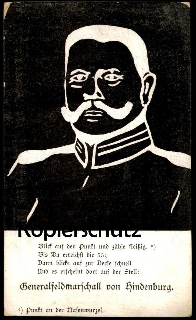 ALTE POSTKARTE GENERALFELDMARSCHALL PAUL VON HINDENBURG HUMOR OPTISCHE TÄUSCHUNG Ansichtskarte postcard cpa AK