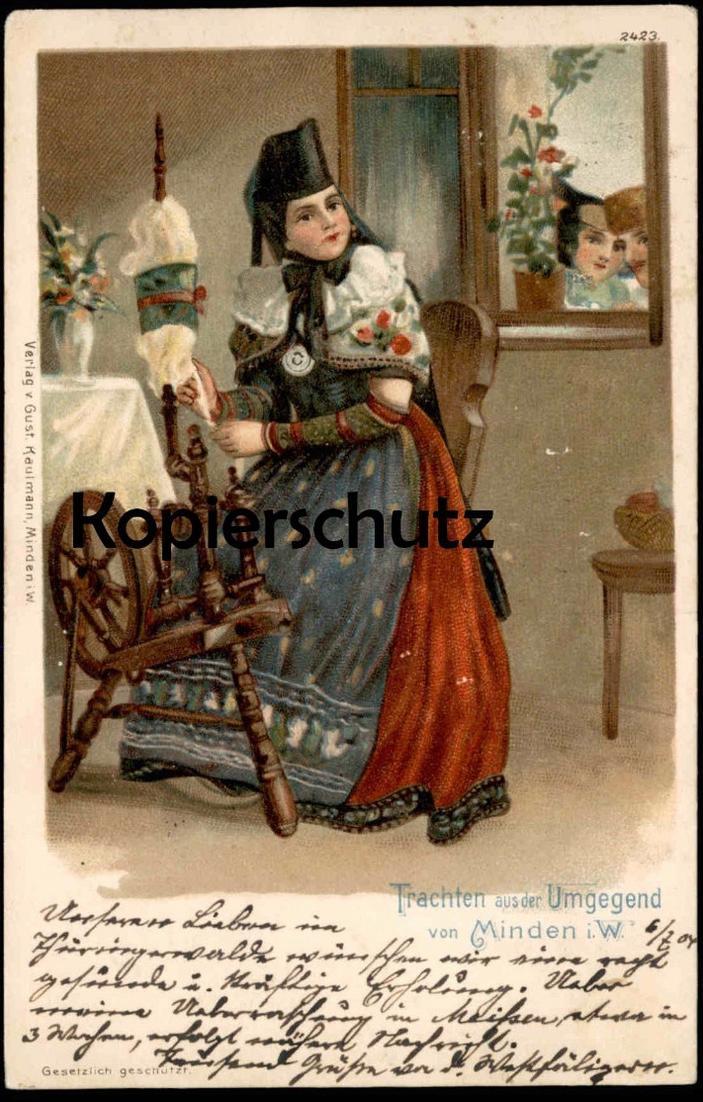 ALTE LITHO POSTKARTE TRACHTEN AUS DER UMGEGEND VON MINDEN SPINNERIN SPINNER Tracht Spinnrad cpa postcard Ansichtskarte
