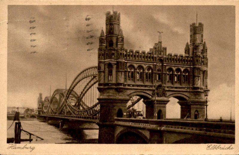 ALTE POSTKARTE HAMBURG ELBBRÜCKE BRÜCKE ELBE bridge pont Ansichtskarte postcard cpa AK