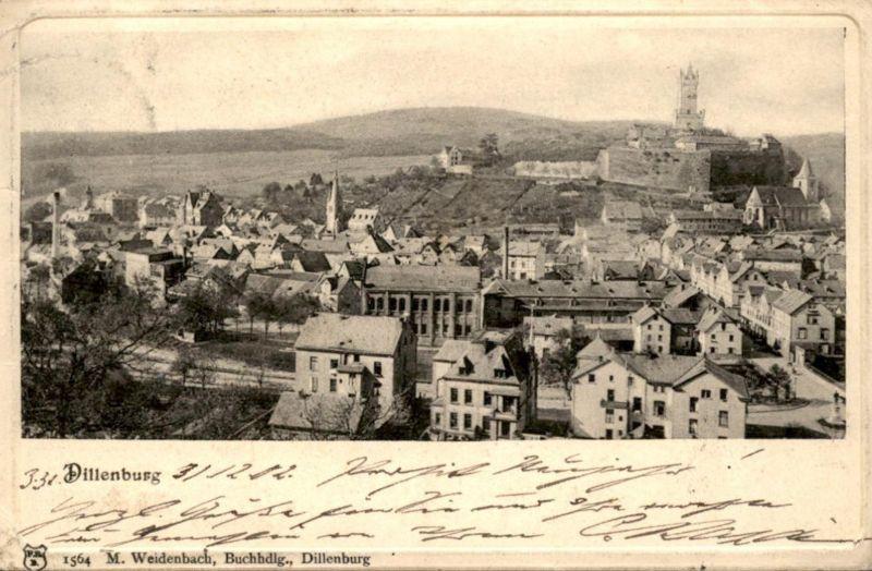 ALTE PASSEPARTOUT POSTKARTE DILLENBURG 31.12.1902 Ansichtskarte postcard cpa AK