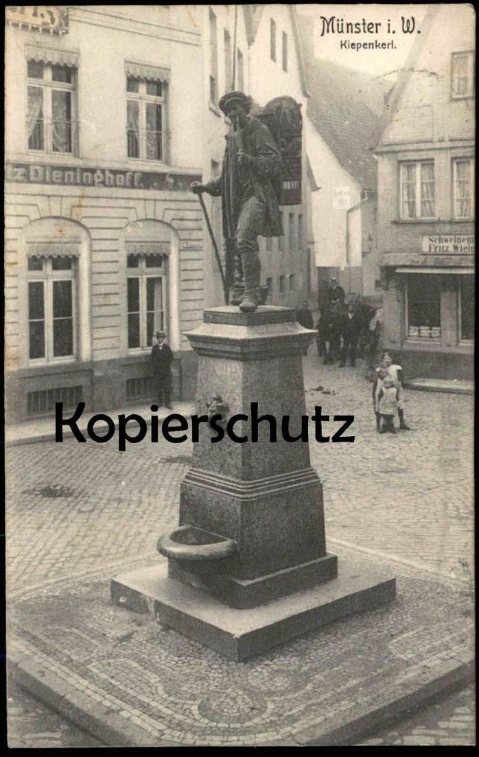 ALTE POSTKARTE MÜNSTER WESTFALEN KIEPENKERL DENKMAL Schweinemetzger Fritz Wielers Dieninghoff monument Ansichtskarte