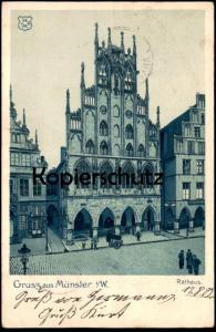 ALTE KÜNSTLER POSTKARTE GRUSS AUS MÜNSTER WESTFALEN RATHAUS 1903 Ansichtskarte