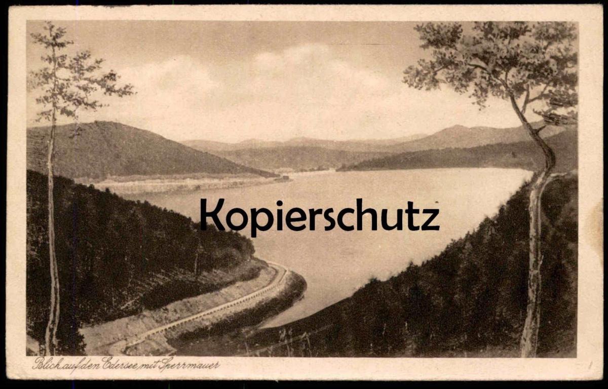ALTE POSTKARTE BLICK AUF DEN EDERSEE UND SPERRMAUER Talsperre Waldeck barrage water dam Ansichtskarte cpa postcard AK