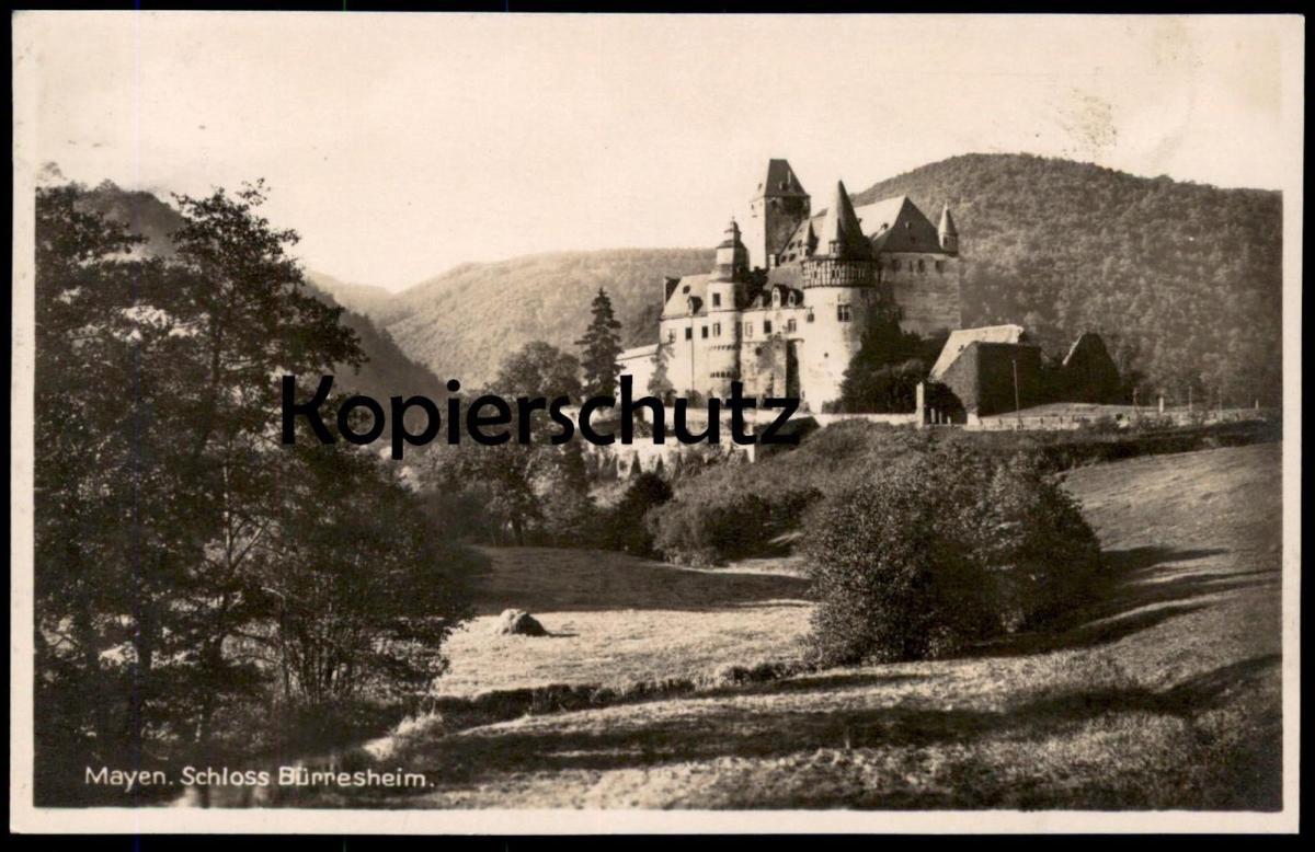 ALTE POSTKARTE MAYEN EIFEL SCHLOSS BÜRRESHEIM 1931 castle chateau Landkreis Koblenz Ansichtskarte postcard cpa