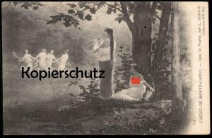 ALTE KÜNSTLER-POSTKARTE DANS LA PRAIRIE Frau femme seins nus nude breast woman nudity cpa postcard AK Ansichtskarte