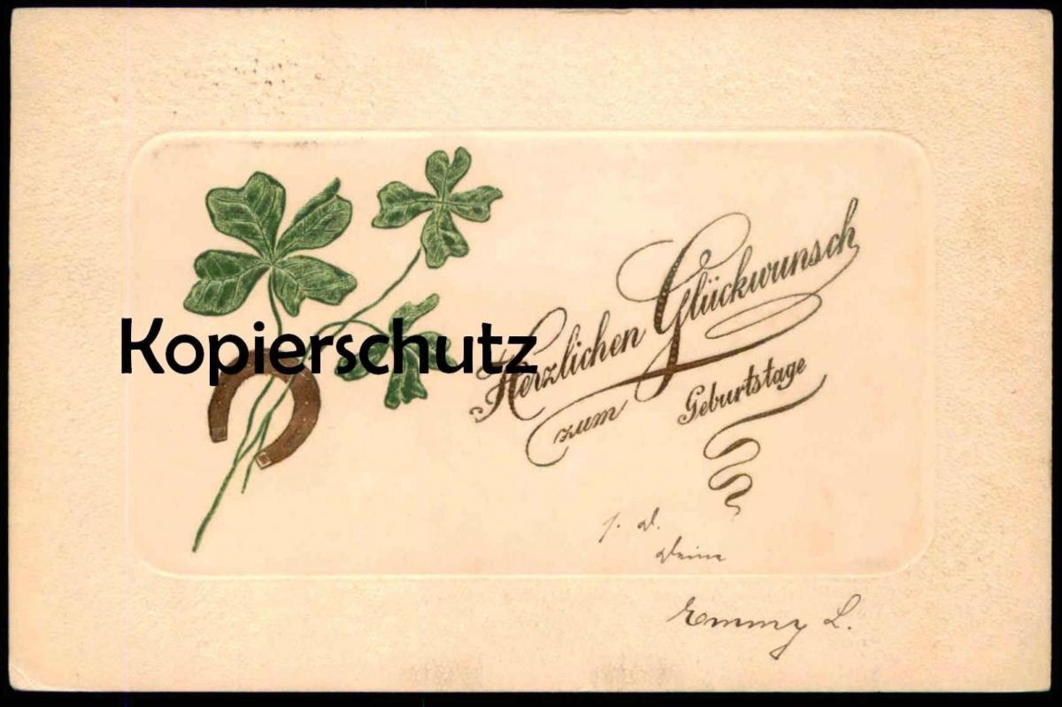 ALTE PRÄGE POSTKARTE HERZLICHEN GLÜCKWUNSCH ZUM GEBURTSTAGE KLEEBLATT HUFEISEN horseshoe shamrock 1902 Ansichtskarte AK