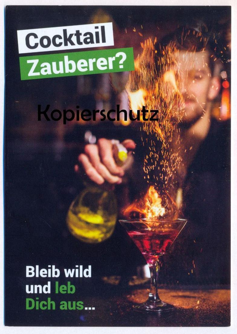 POSTKARTE COCKTAIL ZAUBERER BLEIB WILD UND LEB DICH AUS ALKOHOL alcohol magician wizard alcool Ansichtskarte postcard AK