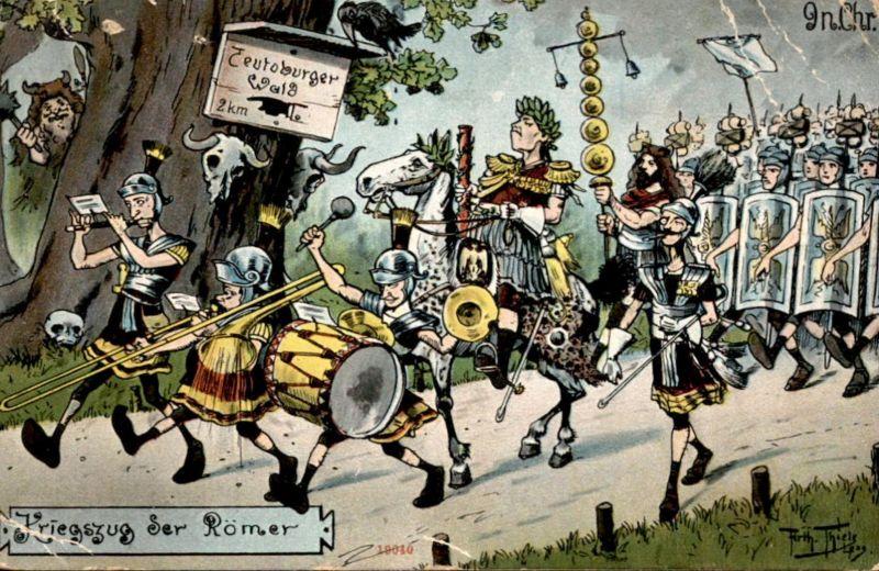 ALTE KÜNSTLER POSTKARTE ARTHUR THIELE KRIEGSZUG DER RÖMER TEUTOBURGER WALD HINWEISSCHILD Ansichtskarte postcard cpa AK