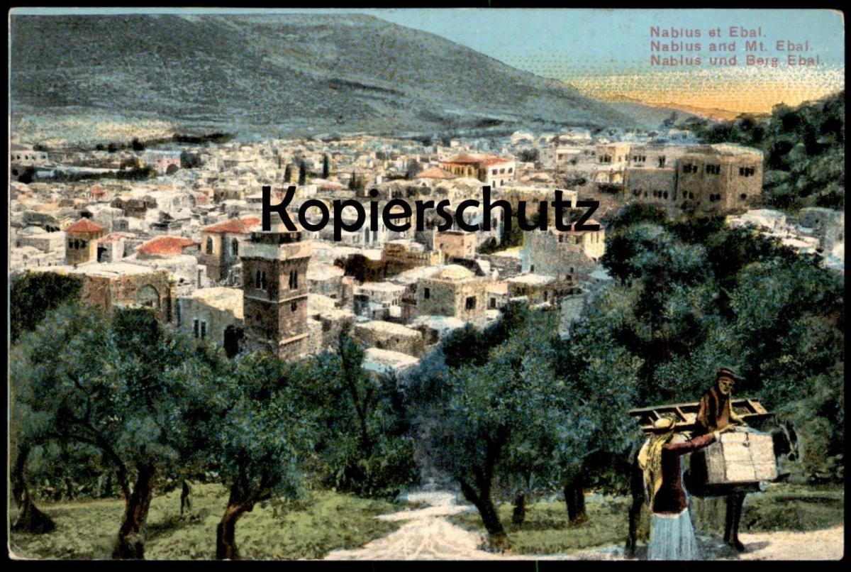 ALTE POSTKARTE ISRAEL NABLUS ET EBAL BERG EBAL Autonomiegebiet Westjordanland Ansichtskarte cpa postcard AK