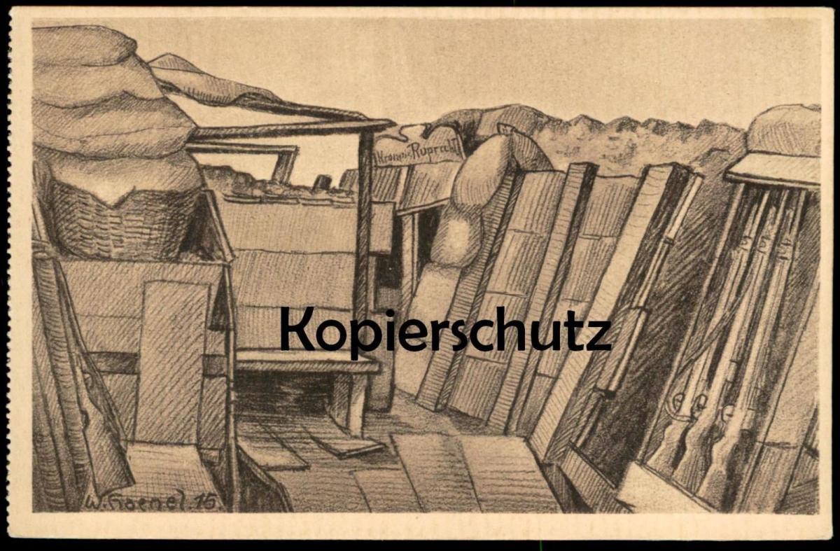 ALTE KÜNSTLER POSTKARTE WWI UNTERSTAND RUPRECHT GEWEHRE SIGN. WERNER HAENEL 1915 Schützengraben Ansichtskarte postcard