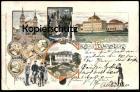 ALTE LITHO POSTKARTE GRUSS AUS LUDWIGSBURG VISCHER MÖRIKE STRAUSS KERNER MARIENWAHL K. Fuchs Ansichtskarte postcard cpa