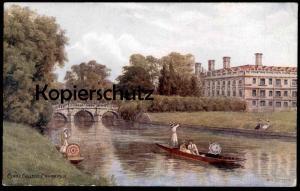 ALTE KÜNSTLER POSTKARTE CLARE COLLEGE CAMEBRIDGE A. R. QUINTON parapluie umbrella Schirm Ansichtskarte postcard