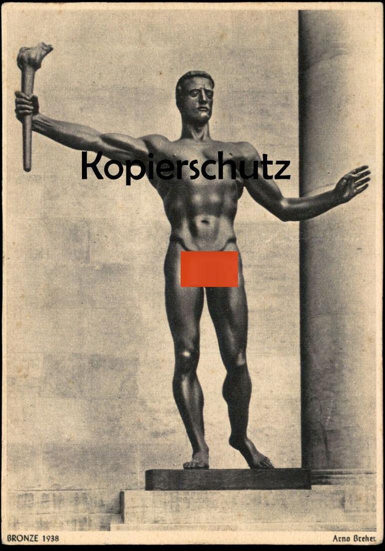 ALTE KÜNSTLER POSTKARTE ARNO BREKER BRONZE 1938 MANN MIT FACKEL BISCHOF & KLEIN LENGERICH nude Ansichtskarte postcard