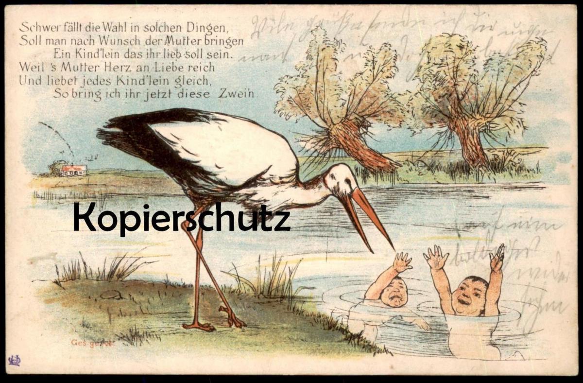 ALTE KÜNSTLER POSTKARTE STORCH ZWILLINGE HUMOR NACKTE BABYS twins jumeaux Humour Enfant Bébé nu nude Cigogne Stork cpa