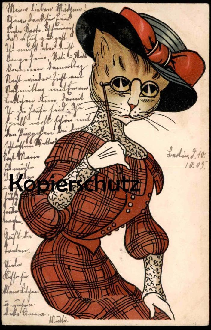 ALTE POSTKARTE KATZE VERMENSCHLICHT STRENG Brille Hut Kostüm hat chapeau glasses lunettes Katzen Cat Chat Cats Chats cpa