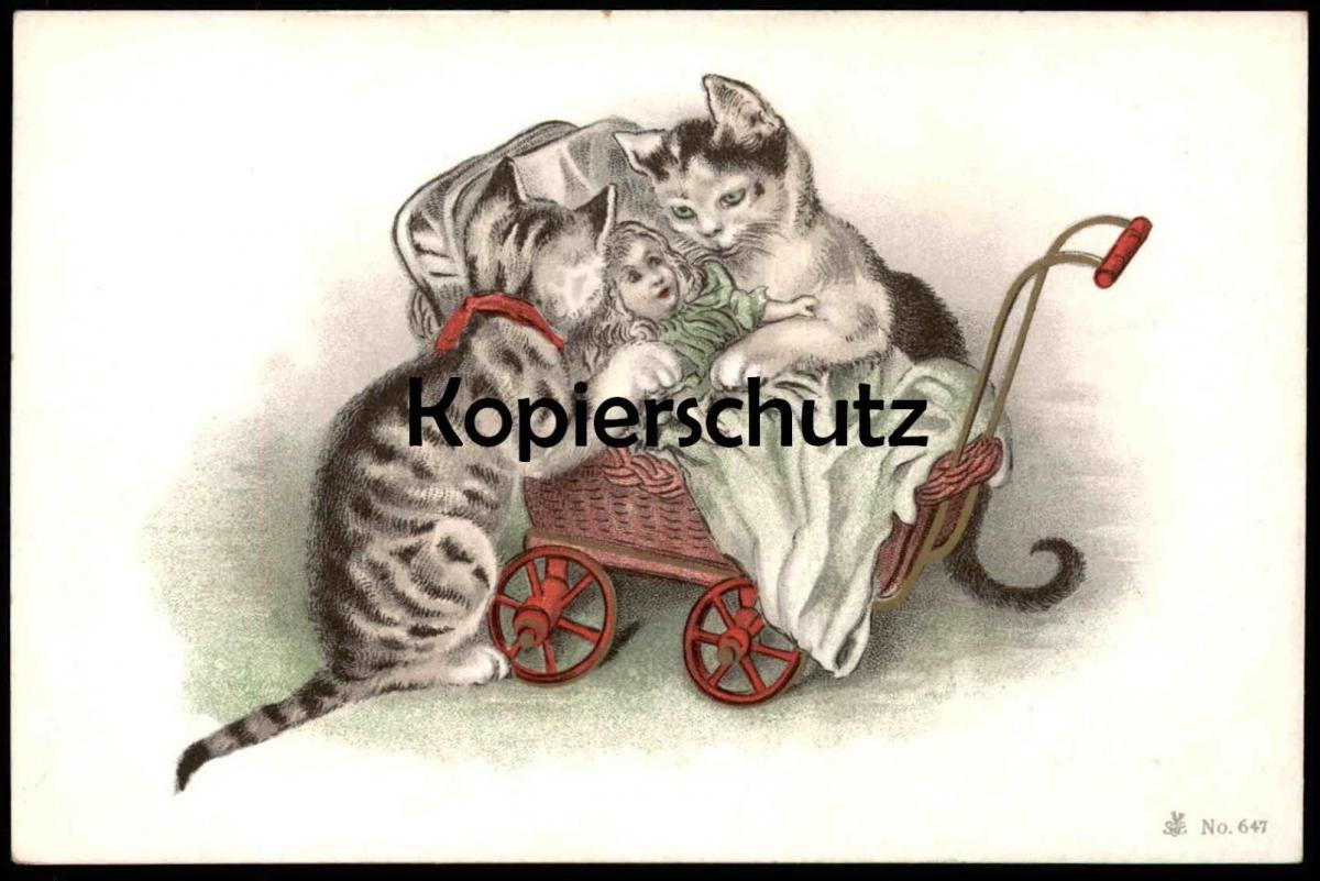 ALTE POSTKARTEN KATZEN VERMENSCHLICHT Kinderwagen Kind Puppe Doll Child Enfant Katze Cat Chat Cats Chats pram poussette