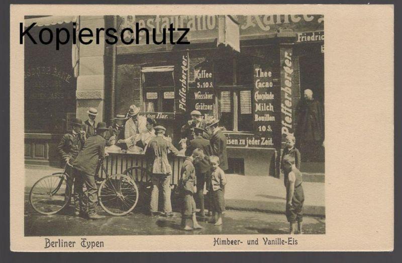 ALTE POSTKARTE BERLINER TYPEN HIMBEER- UND VANILLE-EIS Berlin ice cream glace gelato Ansichtskarte AK cpa postcard