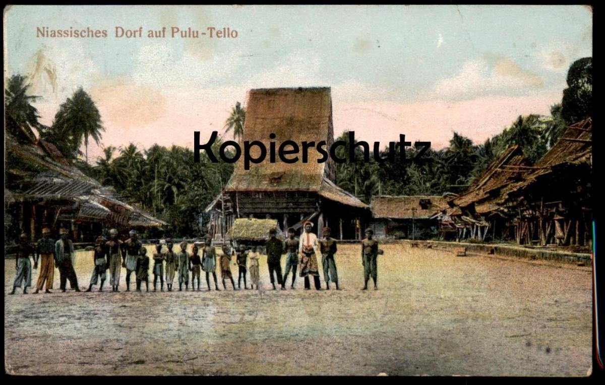 ALTE POSTKARTE NIASSISCHES DORF AUF PULU-TELLO NIAS PASAR PULAU TELLO SUMATERA UTARA PULAUTELO postcard cpa AK
