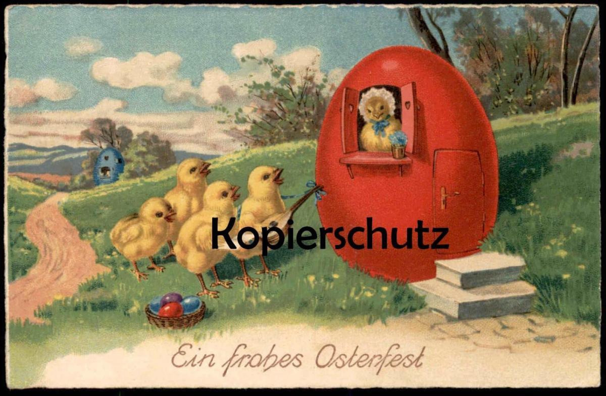 ALTE POSTKARTE EIN FROHES OSTERFEST VERMENSCHLIICHTE KÜKEN MUSIKANTEN Ostern Easter humanised biggy chick egg postcard