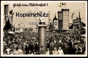 ALTE POSTKARTE MÜNCHEN GRUSS VOM OKTOBERFEST 1936 WIESN PSCHORR Ochsenbraterei WC Toilette toilet Ansichtskarte postcard