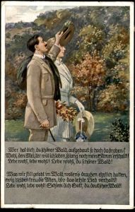ALTE KÜNSTLER POSTKARTE J. DURST LIEDERKARTE WER HAT DICH DU SCHÖNER WALD Forest Paar couple Landpoststempel Gerolstein