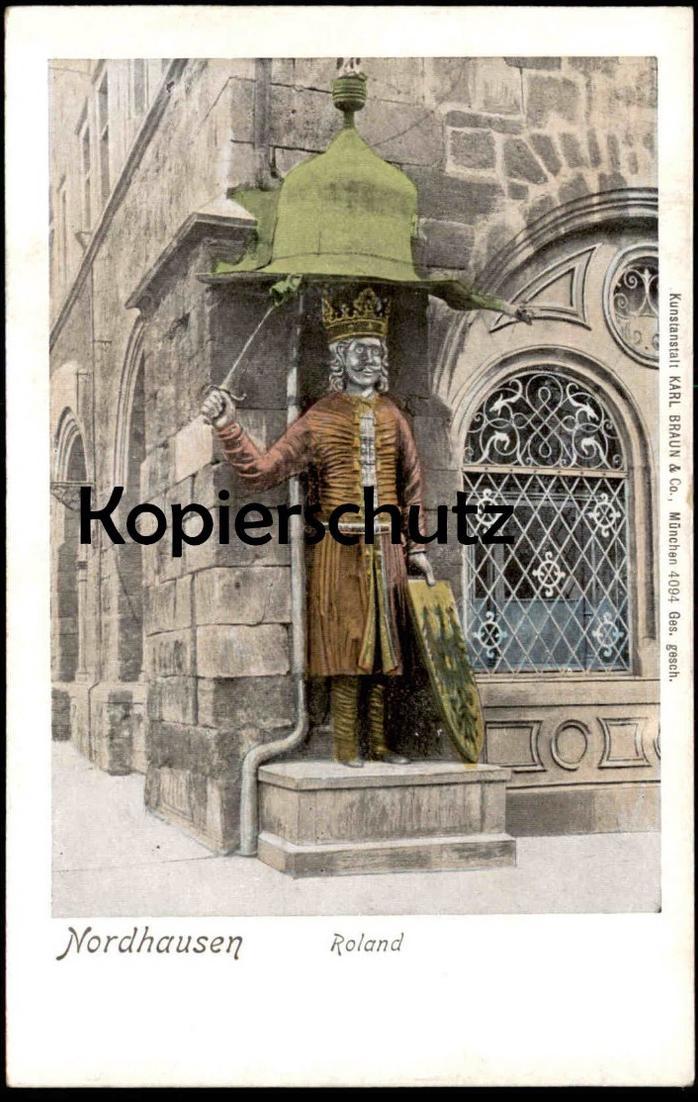 ALTE POSTKARTE NORDHAUSEN ROLAND Denkmal monument Schild Wappen Thüringen Ansichtskarte AK cpa postcard